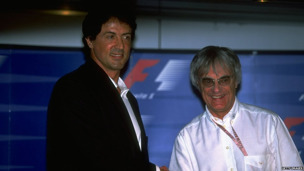 Bernie Ecclestone with the actor Sylvester Stallone