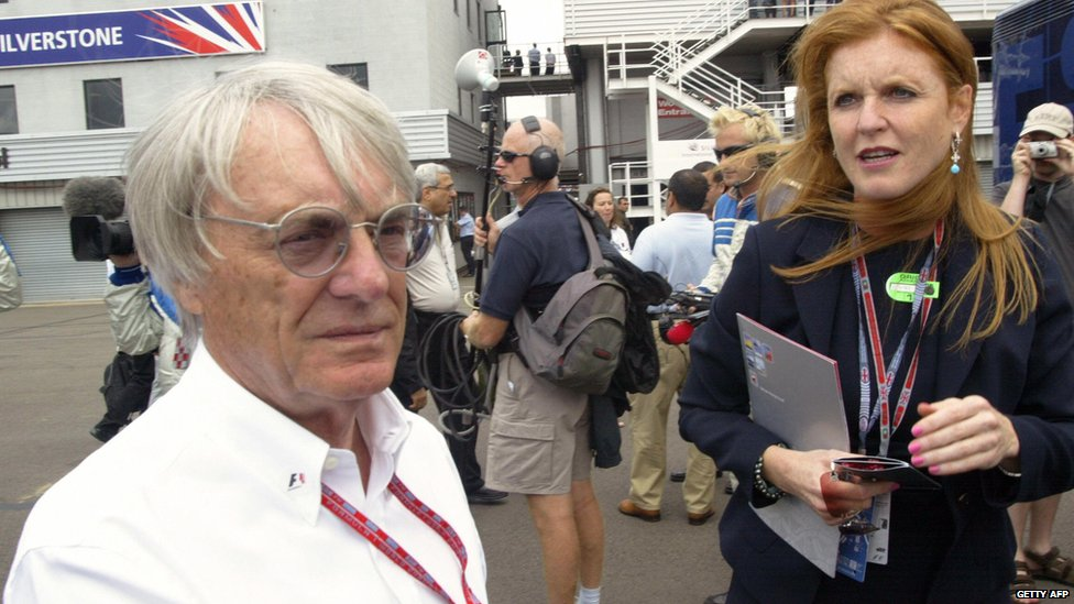 Bernie Ecclestone with the Former Duchess of York Sarah Ferguson