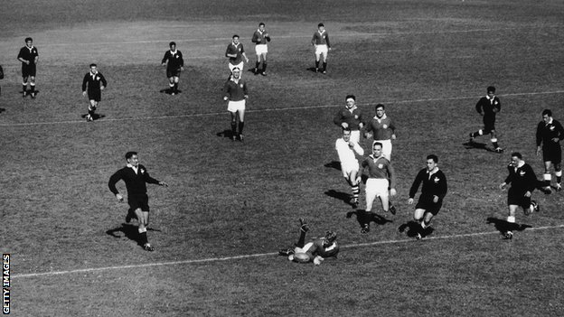 Ken Scotland spills the ball in the act of scoring for the Lions against the New Zealand Maori in 1959