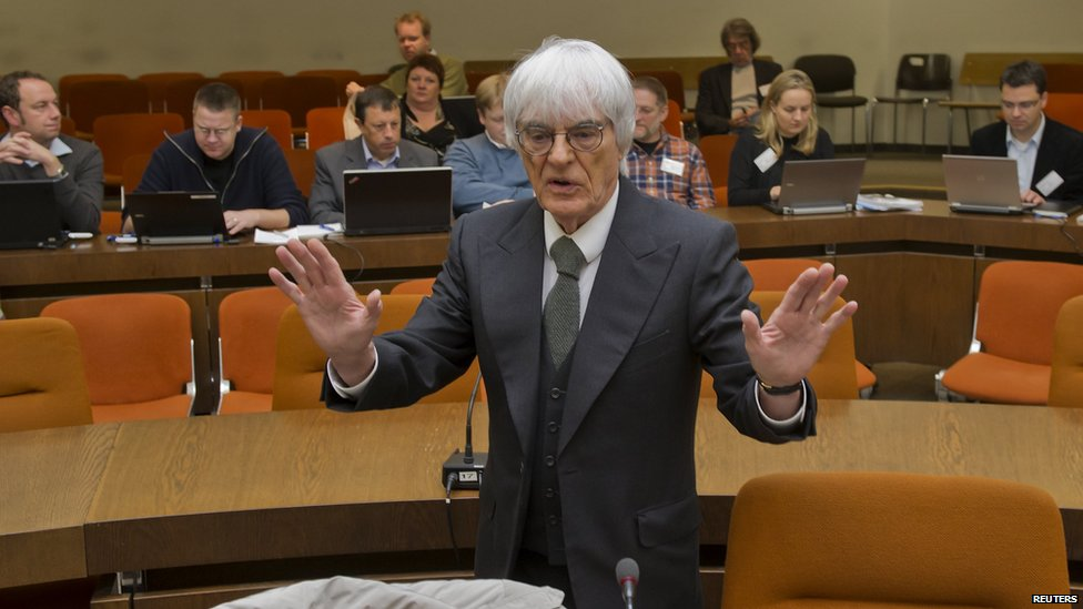 Bernie Ecclestone as he testifies in the trial against banker Gerhard Gribkowsky at a district court