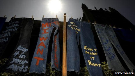 Jeans spray-painted with anti-violence messages at University Of California