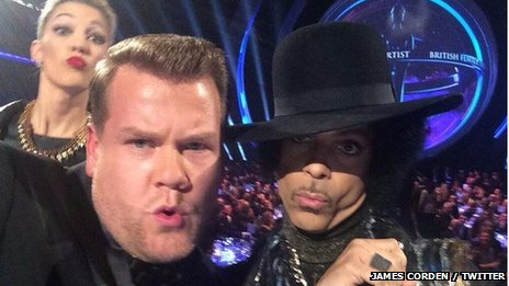 James Corden with Prince