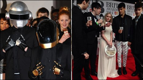 Daft Punk impersonators and Clean Bandit