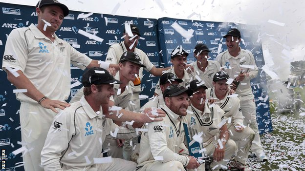 New Zealand with the Test series trophy
