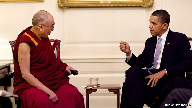 File photo: President Barack Obama meets the Dalai Lama in the Map Room of the White House, 18 February 2010