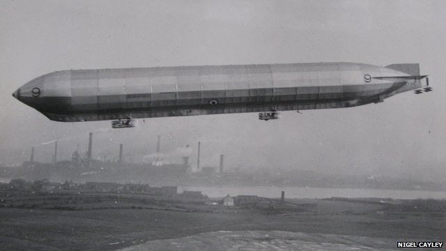 British WW1 airship flying in Barrow, Cumbria, where it was built