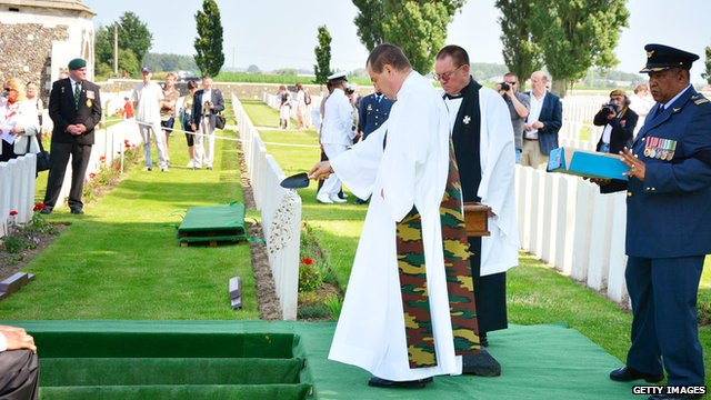 The remains of three South African soldiers buried at Tyne Cot in July 2013