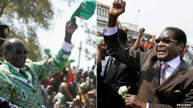 L: Robert Mugabe dressed in his campaign kit attending a rally in Chitungwiza near Harare R: Robert Mugabe arriving at Harare airport after attending the UN general assembly in New York - 29 September 2008