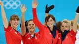 GB women curlers celebrate