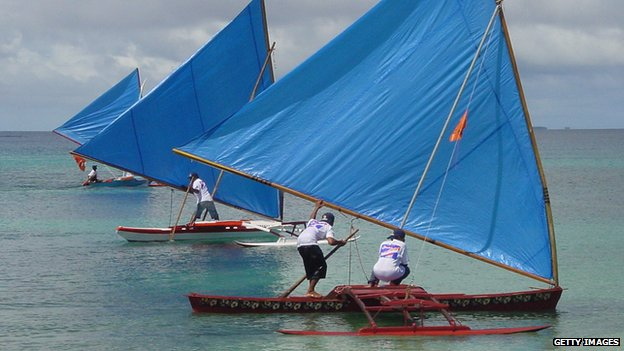 Outrigger canoes in the Marshall Islands