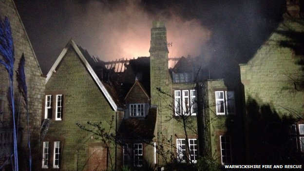 Roof of Blackdown Hall on fire
