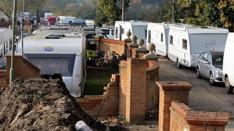Caravans parked up on the illegal side of the Dale Farm travellers site following the completion of clearance works by Basildon Council in Crays Hill in Essex (Chris Radburn / PA Wire)