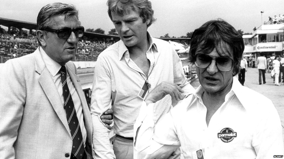 The then FIA President Jean-Marie Balestre, with then Formula One Constructors Association (FOCA) spokesman Max Mosley, and then FOCA head Bernie Ecclestone