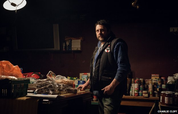Jim, the landlord of the King Alfred Inn in Burrowbridge, organises food donations for the flood victims
