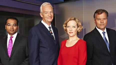 Channel 4 News hosts Krishnan Guru-Murthy, Jon Snow, Cathy Newman and Matt Frei