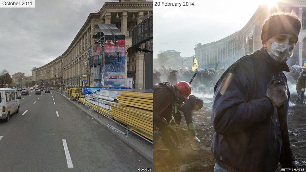 A road running through Independence Square before and after violent protest.