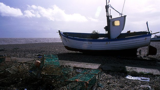 A fishing boat on Aldeburgh Beach