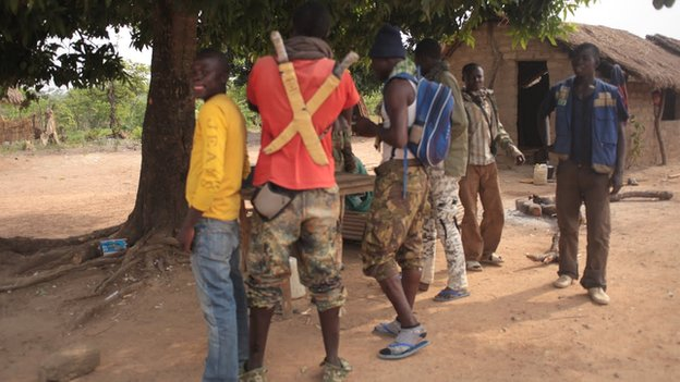 Anti-balaka militiamen in a village in CAR