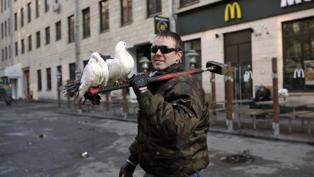 A protester carries doves on a hammer in central Kiev