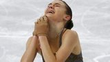 Russia's Adelina Sotnikova reacts at the end of her programme during the women's free skating