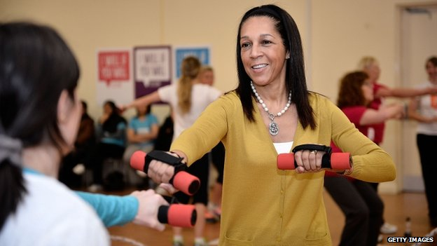 Sports Minister Helen Grant takes part in a new women's sport campaign in Bury on December 3
