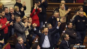 Ukrainian opposition members celebrate during the voting in parliament in Kiev 20 February 2014.