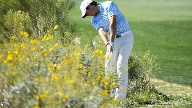 Rory McIlroy in action at the WGC Match Play at Dove Mountain
