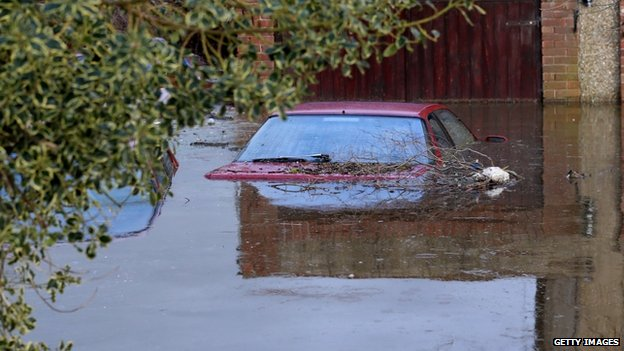 A car up to its wing mirrors in water