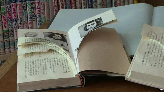 A damaged Anne Frank-related book in Tokyo, 21 February 2014