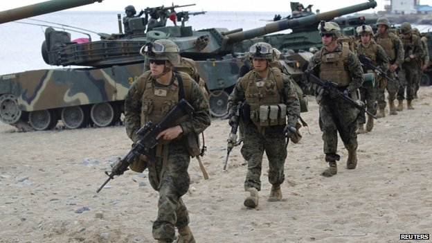File photo: US marines participate in a US-South Korea joint landing operation drill in Pohang, about 370 km (230 miles) southeast of Seoul, 26 April 2013