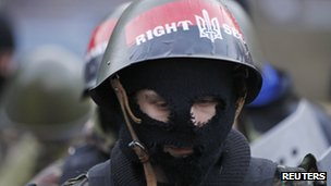 Close-up shot of an unidentifiable protester in Kiev, Ukraine