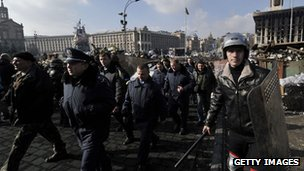Protesters and police in Kiev, Ukraine