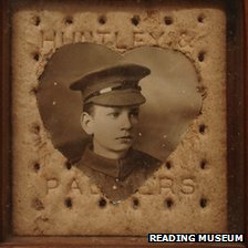 Huntley & Palmer army biscuit used as a picture frame