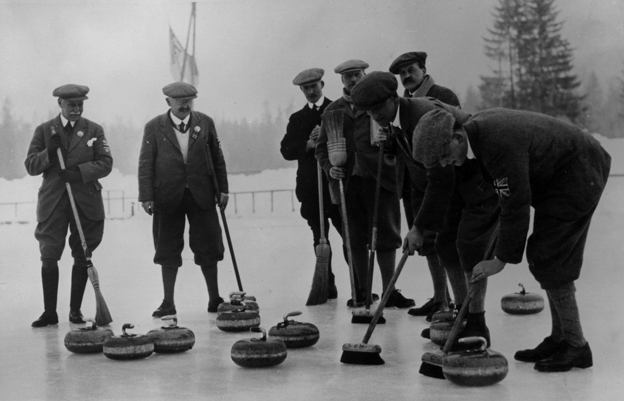28th January 1924: The British Curling team during the Winter Olympics at Chamonix, France