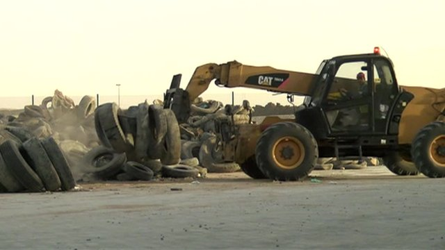 old tyres being moved