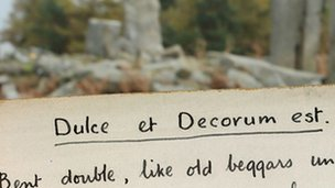 Detail from the poem 'Dulce et Decorum est'