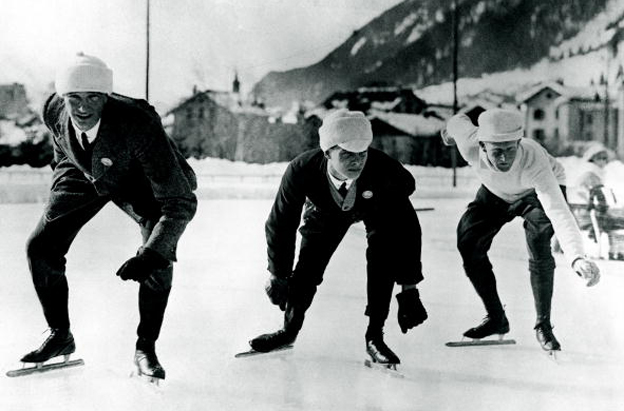 English speed skaters training in Chamonix for the Winter Olympic Games, 16th January 1924. From left to right, B. H. Sutton, L. H. Cambridgeshire and A. E. Tibbet.