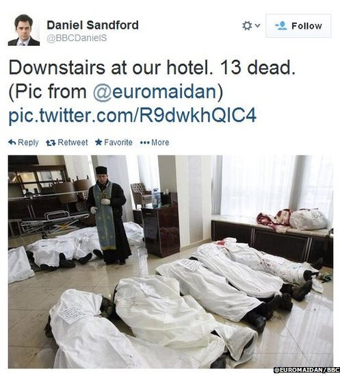 Dead bodies in the lobby of Kiev's Ukraina Hotel
