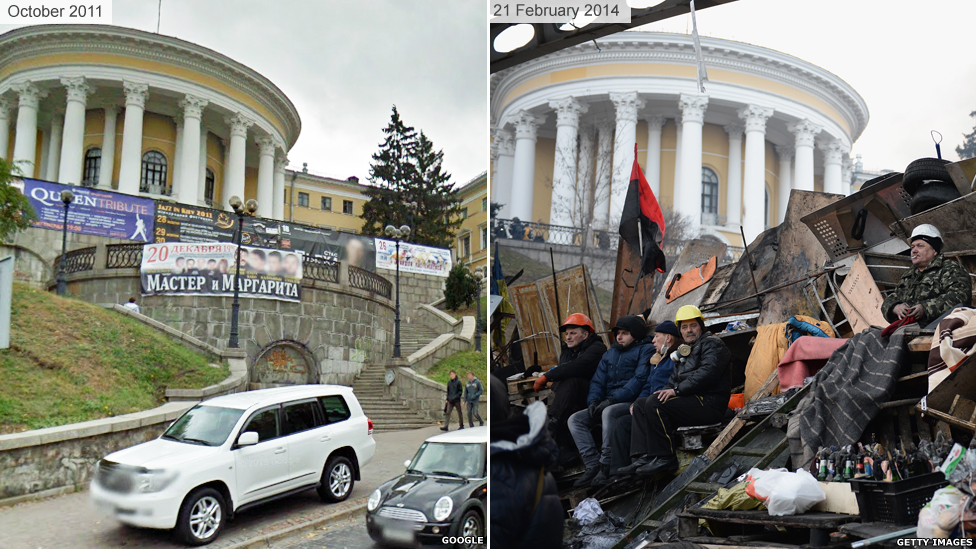 Barricades in a street in Kiev amid anti-government protests
