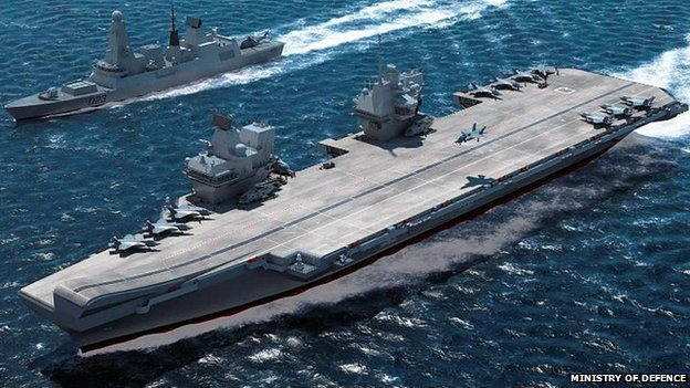 Computer generated image of the Royal Navy's new aircraft carrier HMS Queen Elizabeth