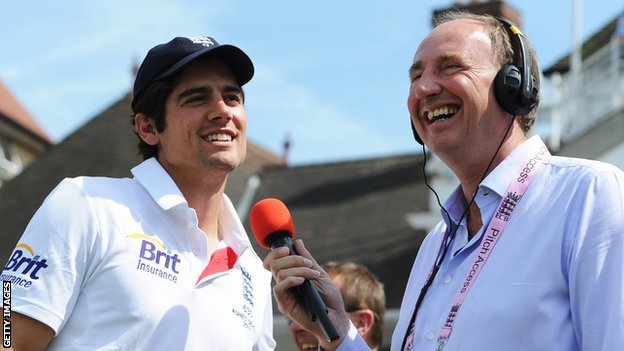 England captain Alastair Cook and BBC cricket correspondent Jonathan Agnew