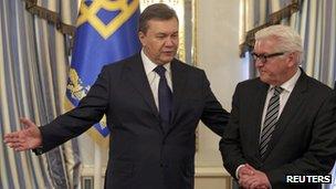 President Viktor Yanukovich and German Foreign Minister Frank-Walter Steinmeier