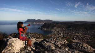 Girl sitting on top of Table Mountain