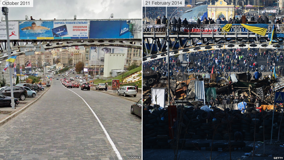 Bridge near Independence Square before and after the violent protests