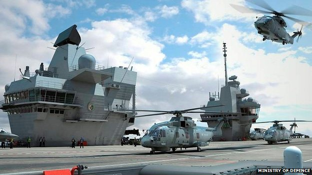 Computer generated image of the Royal Navy's new aircraft carrier HMS Queen Elizabeth.