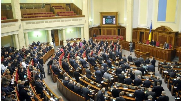 Deputies of the Ukrainian parliament vote to return Ukraine to its 2004 constitution, which limits the president's powers and gives lawmakers the right to appoint key ministers