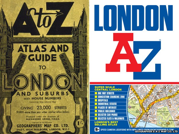 Original cover of London A-Z and latest edition