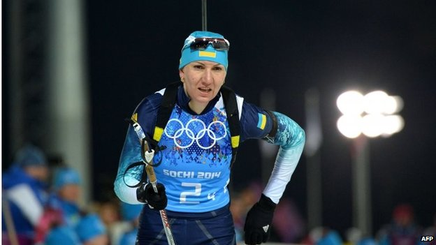 Gold medalist Olena Pidhrushna competes in the Women's Biathlon 4x6 km Relay