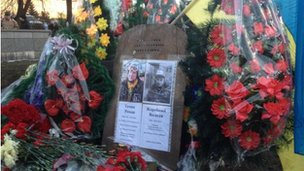 Shrine to two dead protesters in Kiev on 21 February 2014