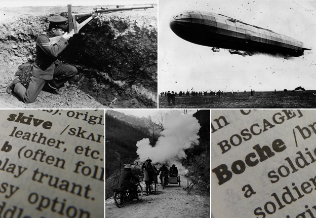 "From top left, clockwise: British soldier, zeppelin, ""Boche"", explosion, ""skive"""